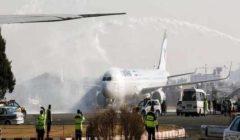 """""""هبطت دون فتح العجلات"""".. اشتعال النيران في طائرة إيرانية بالعاصمة طهران"""