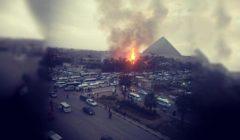 المعمل الجنائي يعاين موقع حريق الـ 2000 متر في الهرم