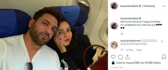 صورة- بهذه الكلمات هنأ حسن الرداد زوجته إيمي سمير غانم بعيد ميلادها .. شاهد