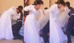 """شاهد بالفيديو .. """"عروسة بلطجية"""" خناقة عنيفة بين عريس وعروسته في ليلة دخلتهم وبملابس الزفاف وأوضة النوم تتحول لحلبة مصارعة"""