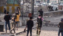 بالصور.. جرحى وسط بغداد بعد صدامات بين المحتجين وقوات الأمن