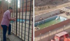بالفيديو.. غلق حمام سباحة في بشتيل بسبب تجمع عدد من الأطفال بداخله