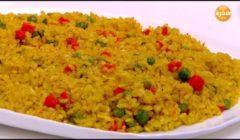 طريقة عمل الأرز البسمتى بالبسلة والجزر   فيديو
