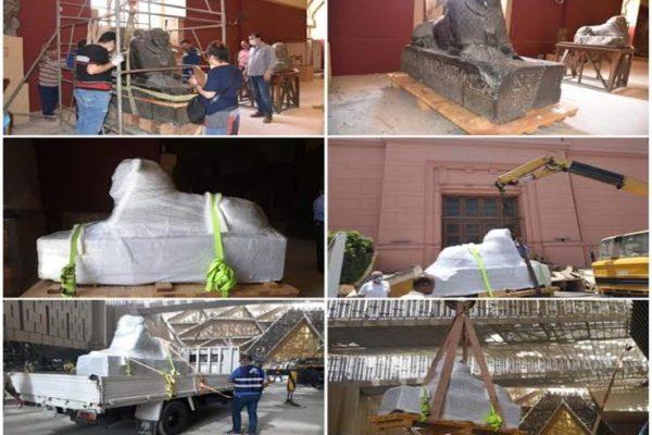 لعرضها بالدرج العظيم.. وصول 7 قطع أثرية ضخمة إلى المتحف المصري الكبير